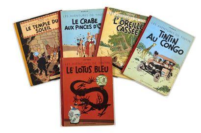 Tintin - Ensemble de 5 albums: Lotus (B3,...