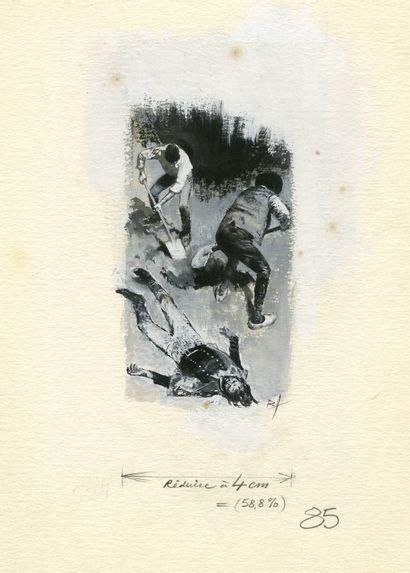 René FOLLET (1931-2020) Sans titre Technique mixte sur papier pour un ensemble de...