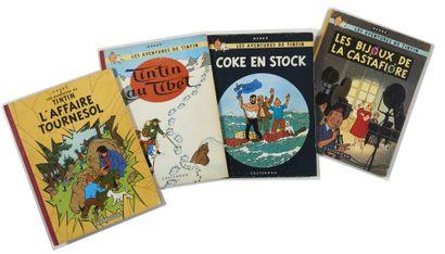 Tintin - Ensemble de 4 albums: Bijoux, Coke...