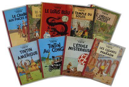 Tintin - Ensemble de 9 albums: Oreille (B25),...