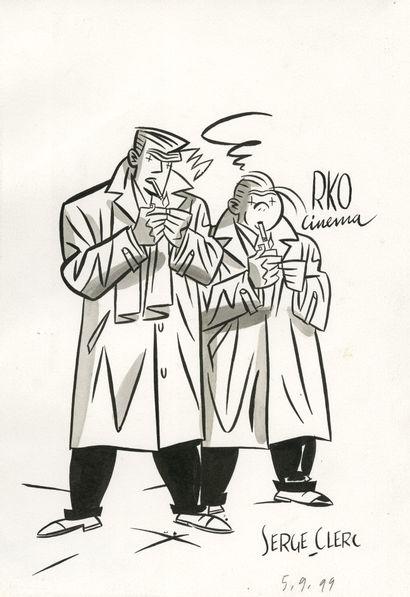 Sergé CLERC (né en 1957) RKO Cinéma Encre de Chine sur papier. Signé et daté 99,...