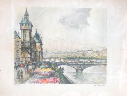 Frank WILL (1900-1951)  Vue du pont au Change...