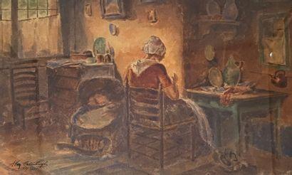 Ecole suédoise, XXe siècle  Scène d'intérieur...