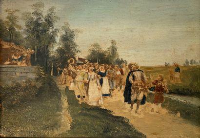 Procession musicale  Gravure rehaussé.  10...