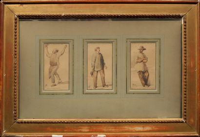 Lot de trois dessins, Trois « prolétaires...