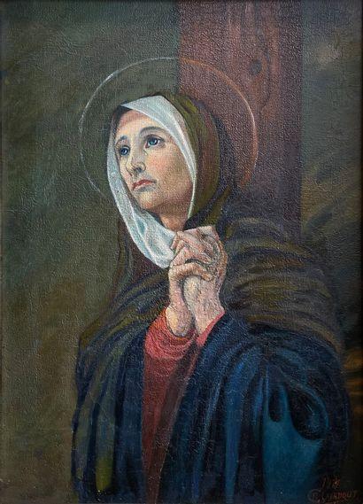 R. CLAERBOUT (?)  Sainte en prière  Huile...