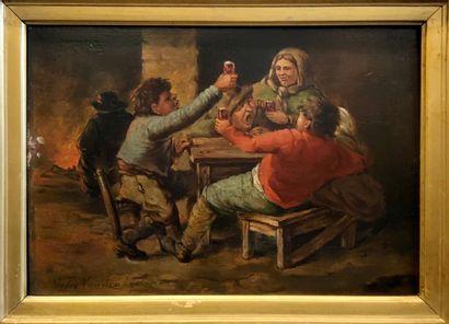 Felix VAN DEN EYCKEN (XIXème siècle)  Buveurs...