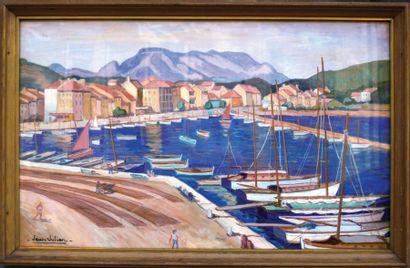 """JULIEN JEAN """"Le Port animé"""" Gouache / Gouach B.E. B + 55 x 90 cm 13120/26240 FF 13..."""