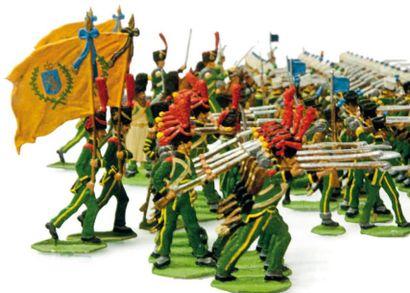 1er Empire. Nassau. Infanterie au feu à Waterloo....