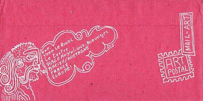 LE ROUSIC Yann Sans titre / Enveloppe Mail-Art décorée sur les deux faces / Signé...