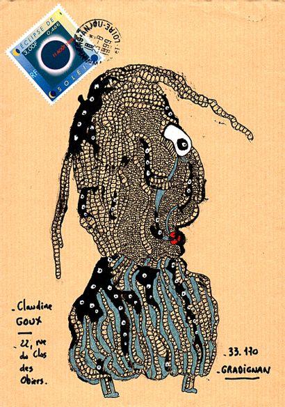 ARNEODO Alain Sans titre n° 5278 / Enveloppe Mail-Art / Technique mixte sur papier...