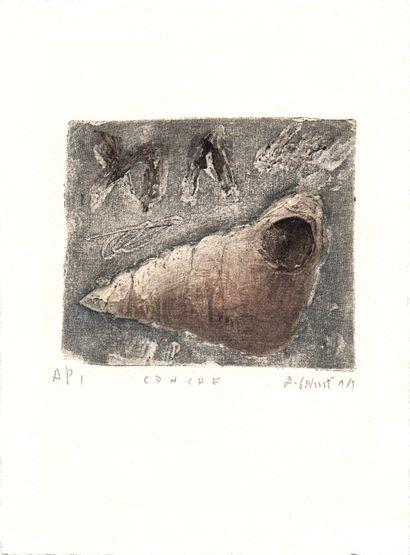 GORODINE Alexis Conche / Gravure au carborundum sur papier / Epreuve d'artiste /...
