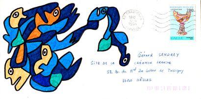GOUX Claudine Sans titre / Enveloppe Mail-Art / Technique mixte sur papier / 11 x...
