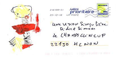 MERRHEIM Morgan Sans titre / Enveloppe Mail-Art / Technique mixte et collage sur...