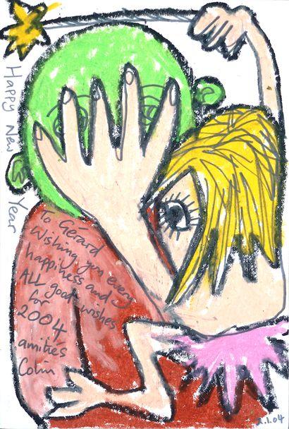 RHODES Colin Happy new year / Pastel gras et crayon noir sur papier à usage de carte...