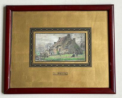 Ludovic PIETTE (1826-1877) La ferme des Boulay de Monfaucault Gouache, signée en...