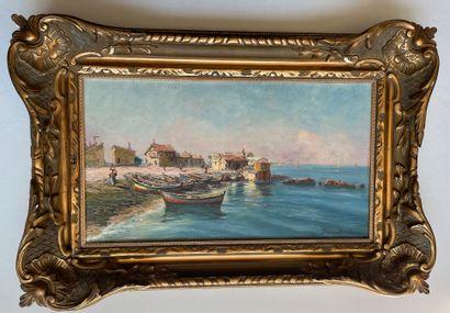 François Léon PRIEUR-BARDIN (1870-1939) La pointe rouge de Marseille, 1901 Huile...