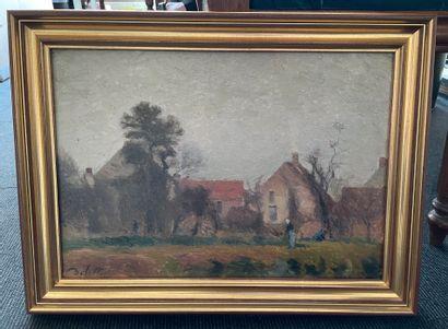 Joseph DELATTRE (1858-1912) Promenade Huile sur toile, signée en bas à gauche 32...