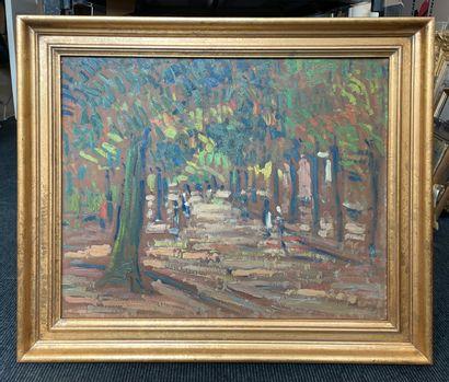 Maurice LOUVRIER (1878-1954) Boulevard Gambetta à Rouen, 1922 Huile sur panneau d'isorel,...