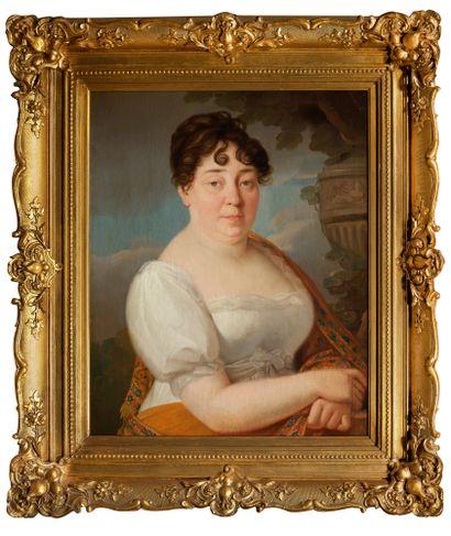 ÉCOLE FRANÇAISE, vers 1820 Portrait de femme à la robe blanche Toile 73 x 57 cm