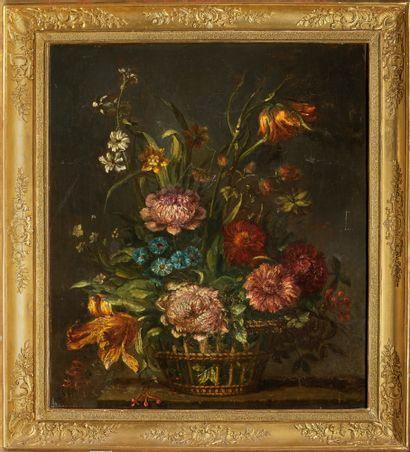 Ecole italienne, vers 1900 Corbeille de fleurs Toile 74 x 61 cm Restaurations