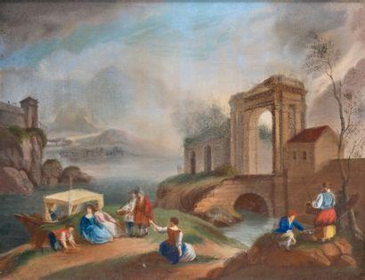 Ecole FRANCAISE, vers 1900 dans le goût de Hubert ROBERT Lavandières près d'un arc...