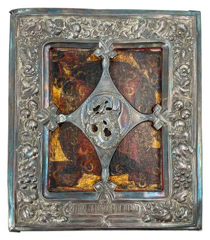 Icône, Russie, Kostroman circa 1750 Vierge...