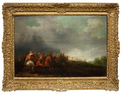 Pieter MEULENER (Anvers 1602 – 1654) Scène de bataille Panneau, trois planches, renforcé,...