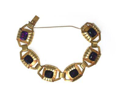 Bracelet articulé en or 18k (750) serti de...