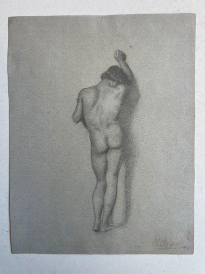 Charles-Francois SELLIER (1830-1882) Académie de jeune homme Probablement une étude...