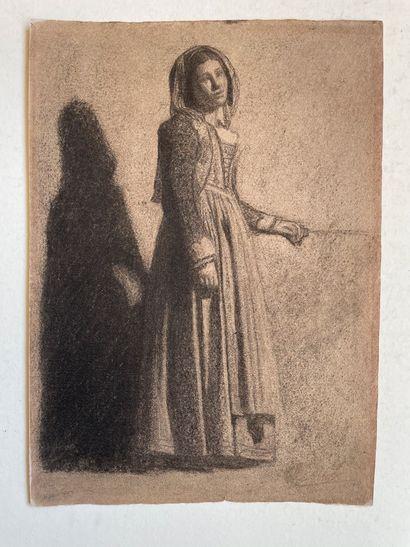 Charles-Francois SELLIER (1830- 1882) Jeune femme dans la pénombre Crayon noir sur...