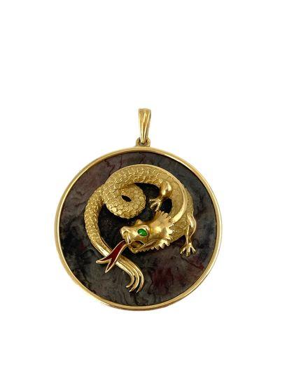 Pendentif en or 18k (750) à décor d'un dragon...
