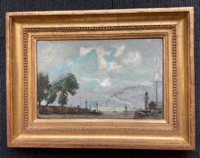 André HAMBOURG (1909-1999) Honfleur, l'entrée du port, été 48 Huile sur toile, signée...