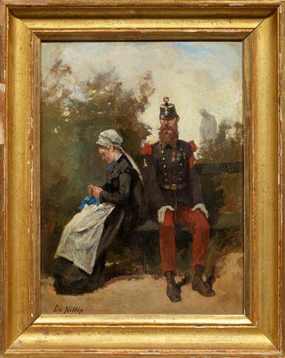 Guiseppe De NITTIS (1846-1884) Premier rendez-vous Huile sur panneau, signée en bas...