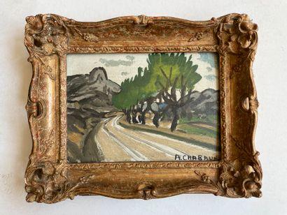 Auguste CHABAUD (1882-1955) Rue animée Huile sur isorel, signée en bas à droite 16...