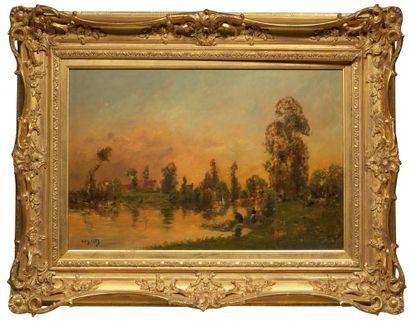 Henri Jacques DELPY (1877-1957) Lavandières au bord de la rivière Huile sur panneau,...