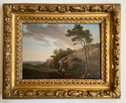 ÉCOLE FRANÇAISE, XIXe siècle Scène de montagne animée Huile sur panneau 25 x 33 ...