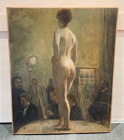 ÉCOLE FRANÇAISE, fin XIXe-début XXe siècle Séance de pose Toile 81 x 65 cm (repe...