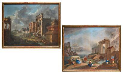 Ecole FRANCAISE, vers 1900 dans le goût de Hubert ROBERT