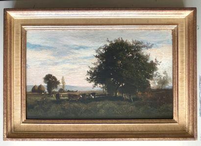 Eugène Antoine LAVIEILLE (1820-1889) Sieste sous le pommier Huile sur panneau, signée...