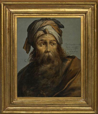 Claude VIGNON (1593-1670) attribué à Portrait de Barbaroussa Huile sur toile, portant...