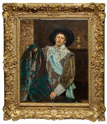 Ferdinand ROYBET (1840-1920) Mousquetaire, circa 1880 Huile sur acajou, signée en...