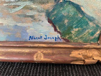Albert JOSEPH (1868-1952) Bord de rivière animée Deux huiles sur toile, signées en...
