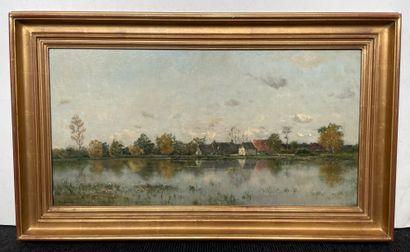 Adrien Jacques SAUZAY (1841-1928) Bord de lac Huile sur panneau, signée en bas à...