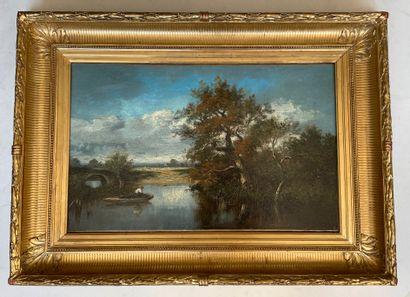 Jules DUPRE (1811-1889) Paysage de la Marne Huile sur toile, signée en bas à droite...