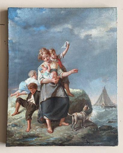 François Louis LANFANT DE METZ (1814-1892) Les adieux Huile sur toile, signée en...