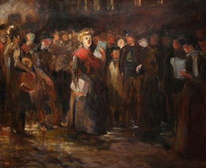 Ecole début XXème siècle Chanteuse populaire Huile sur toile Non signée 45,5 x 54,5...