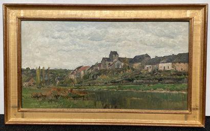 Adrien Jacques SAUZAY (1841-1928) Vue de village Huile sur panneau, signée en bas...