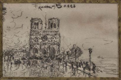 FRANK-BOGGS (1855-1926) Notre-Dame Fusain, signé en haut 11 x 17 cm
