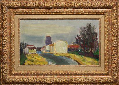 Louis BERTHOMMÉ-SAINT-ANDRÉ (1905-1977) Bord de rivière Huile sur toile, signée en...